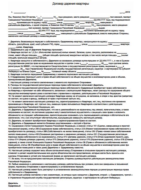 Договор дарения квартиры в санкт петербурге между близкими родственниками 2017 год