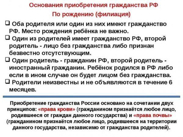 Как называется статья полуения гражданства рф если родился в росси